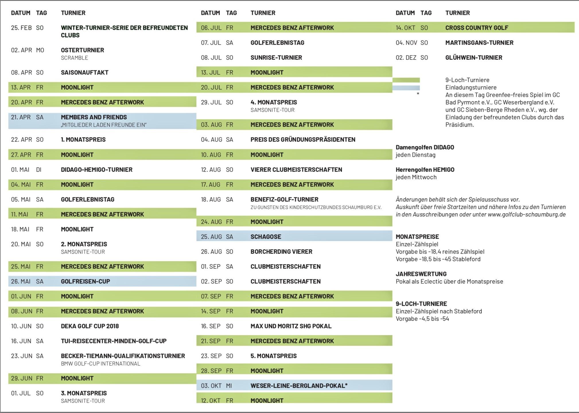Wettspielkalender des Golfclub Schaumburg
